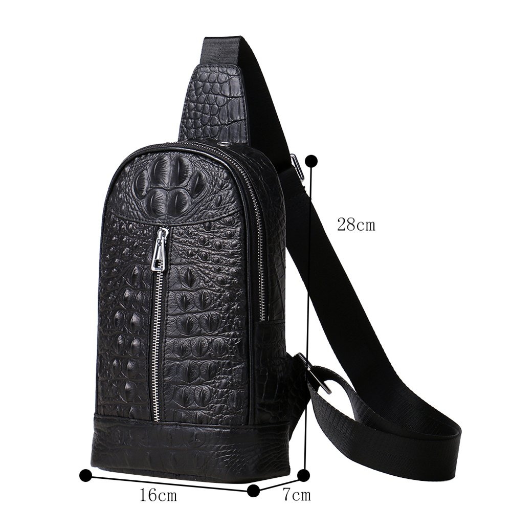 Genda 2Archer Crocodile Embossed Leather Small Chest Unbalance Sling Backpack