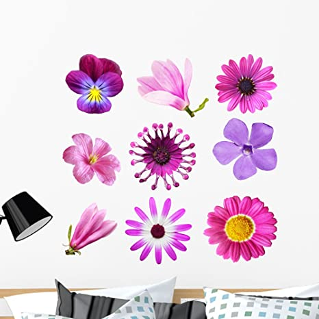 be7e712520 Image Unavailable. Image not available for. Color: Wallmonkeys Purple Flowers  Wall Decal Sticker Set ...