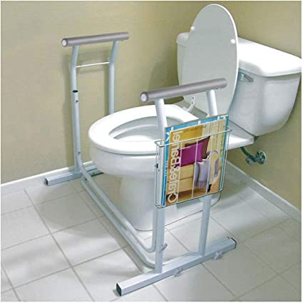 Amazon.com: Stand Alone Toilet Safety Frame Rail Bar 375lbs Padded Handrail w/Magazine Rack: Health & Personal Care