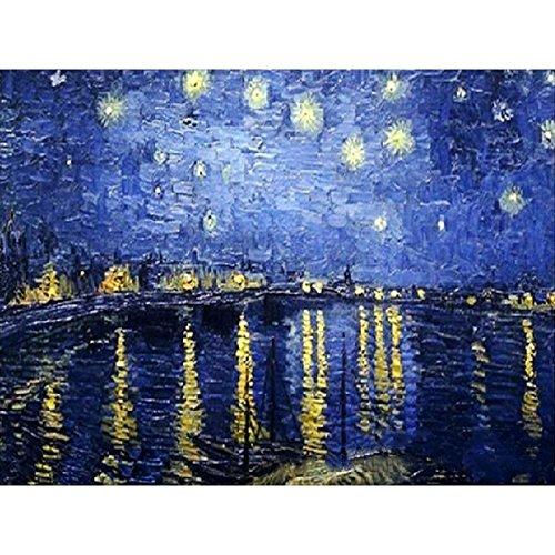 DIY数字油絵 世界的に有名な絵画 絵画 初心者 子供 大人 塗り絵 手塗り ホーム オフィス装飾 40x50cm (ゴッホ-ローヌ河畔の星空 ノー木製フレ)