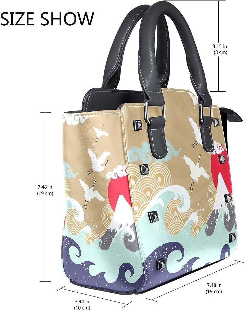 imobaby Japan Crane PU Leather Girls Top-Handle Handbags Single-Shoulder Ladies Tote Crossbody Bag Messenger Bags For Women