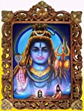 Rishi Doing Meditation & Shiva Giving Blessings Poster Painting in Wood Crafts Frame, Handicrafts Art