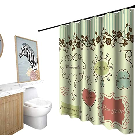 Homecoco Doodle Shower Stall Curtains Vintage French Style Elegance Words Shabby Chic Classic Motif Bath