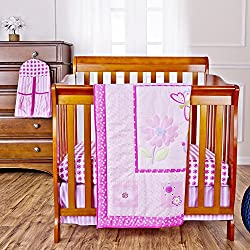 Dream On Me Pink Butterfly and Flower 5 Piece Set Reversible Portable Crib Bedding Set