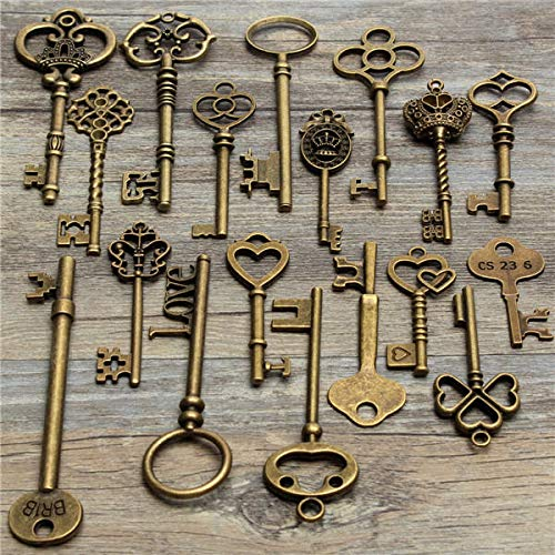 GIlH 18Pcs Antique Vintage Old Look Skeleton Key Lot Pendant Heart Bow Lock Steampunk