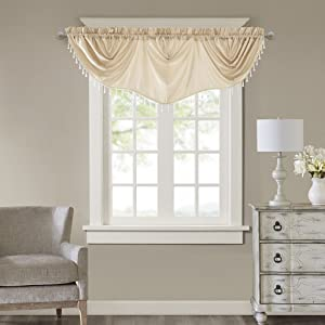 Madison Park Elvina Faux Silk Beaded Trim Imperial Valance, 86x33, Champagne