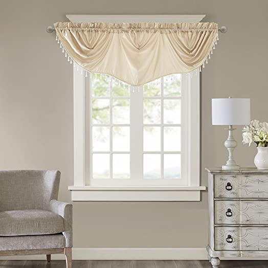 Madison Park Elvina Faux Silk Beaded Trim Imperial Valance, 86×33, Champagne