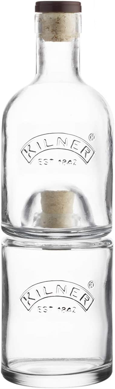 Kilner Stackable Set, Innovative Space-Saving Design, Set of 2 Corked Glass Bottles in Gift Box, Holds a Combined 23-Fluid Ounces, Dishwasher Safe