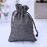 50PCS Burlap Favor Gift Bags with Drawstring and Cotton Lining (17X23CM, #02 Grey)