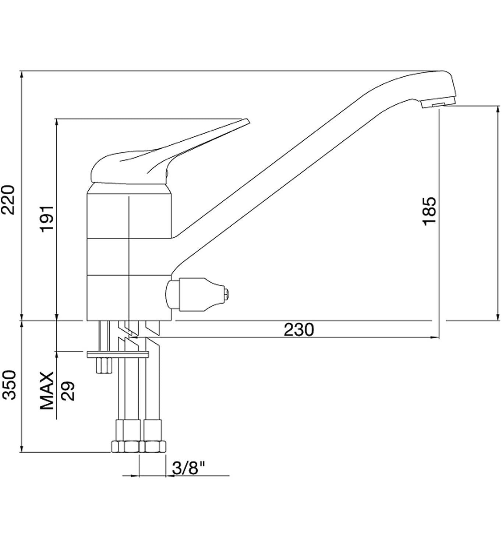 AquaSu sanmix monocomando per lavello con attacco 05420/1 cromato 1/pezzi
