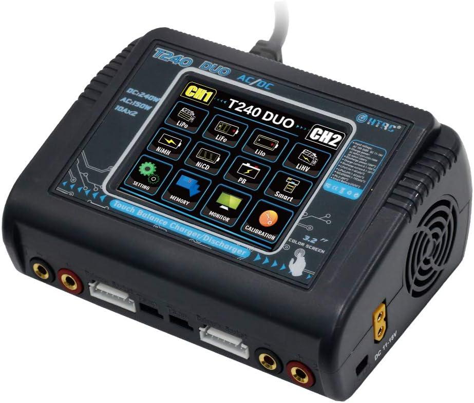 XuBa HT/RC T240 Duo AC 150W DC 240W 10A Pantalla táctil Dual Channel Batería Balance Cargador para RC Juguetes Regulatorio británico