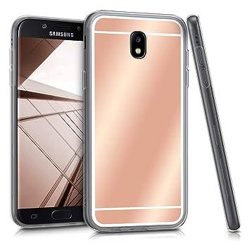 kwmobile Funda para Samsung Galaxy J7 (2017) DUOS - Carcasa Protectora [Trasera] de [TPU] para móvil en [Oro Rosa con Efecto Espejo]