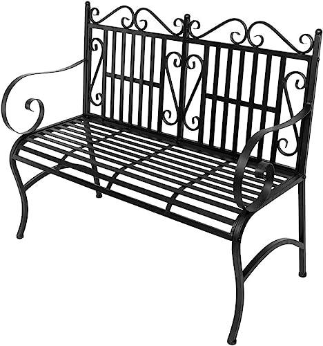 Knocbel Patio Benches 44″ Metal Outdoor Bench Garden Porch Chair Loveseat