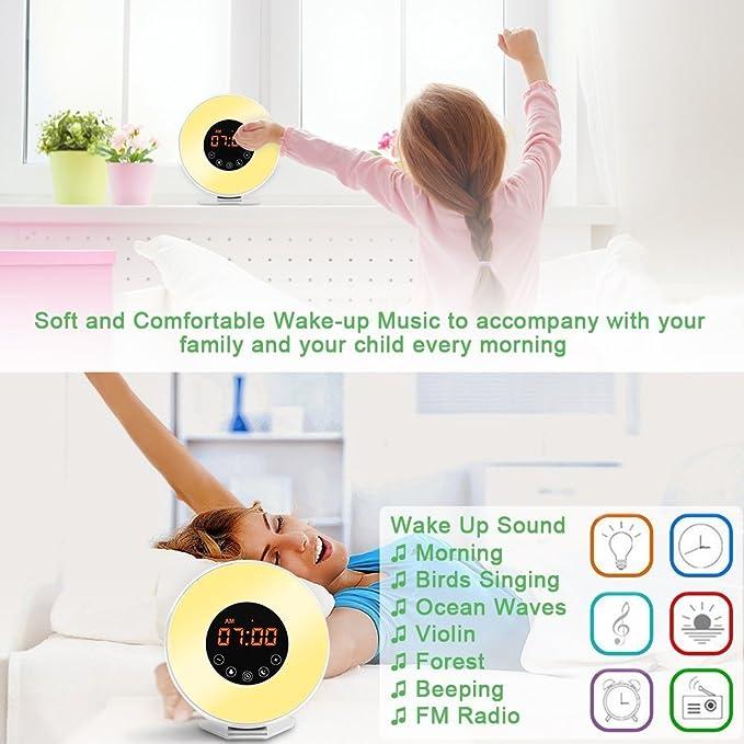 Despertadores,Luz Despertador USB,12H y 24H,6 Sonidos Naturales,Radio FM & 11 Brillo Seleccionable y 7 Colores de Luz,Modo Snooze & Salida / Puesta ...