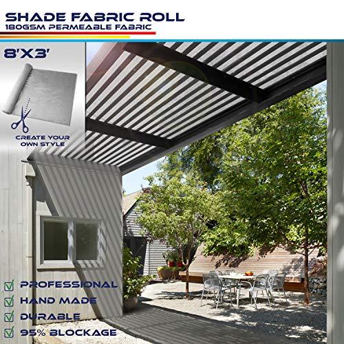Windscreen4less Light Grey Sunblock Shade Cloth,95% UV Block Shade Fabric Roll 8ft x 3ft