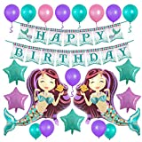 Mermaid Balloons 38'' Glitter Happy Birthday Banner Party Decorations Star Foil Helium Latex Balloon Pack