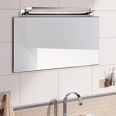 Humedad Impermeable Espejo baño led, Acero inoxidable Led lámpara de espejo Moderno gabinete espejo iluminación - 47cm(18.5 en)-5w luz blanca: Amazon.es: Iluminación