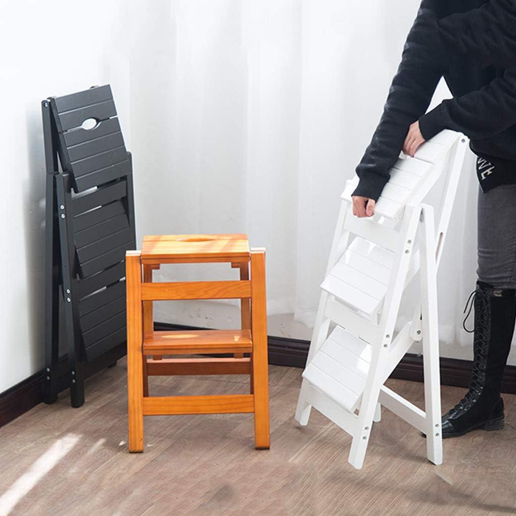 CLOTHES Leitern Klappstufen//Home-Stehleitern Naturholz Dual-Use-Convertible Folding Bibliotheksleiter Stuhl 4 Schritt Hocker for Erwachsene /& Kinder Max.200kg Walnut//f/ür Kinder und die ganze Familie