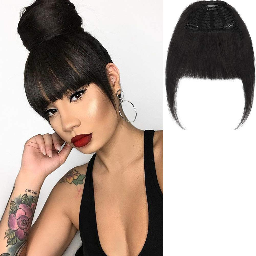New Fashion Clip in Bangs One Piece Fringe 100% Natural Remy Human Hair Extensions Hairpiece Neat Fringe Hand Tied Thick Straight Bangs with Temple Hair Piece Accessories for Girls (Natural Black) by La Bella