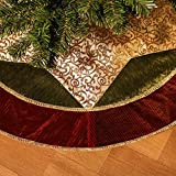 "Valery Madelyn 48"" Classic Traditional Gold and Green Christmas Tree Skirt with Red Trim,Themed with Christmas Ornaments (Not Included)"