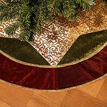 valery madelyn 48 classic traditional gold and green christmas tree skirt with red trim - Gold Christmas Tree Skirt