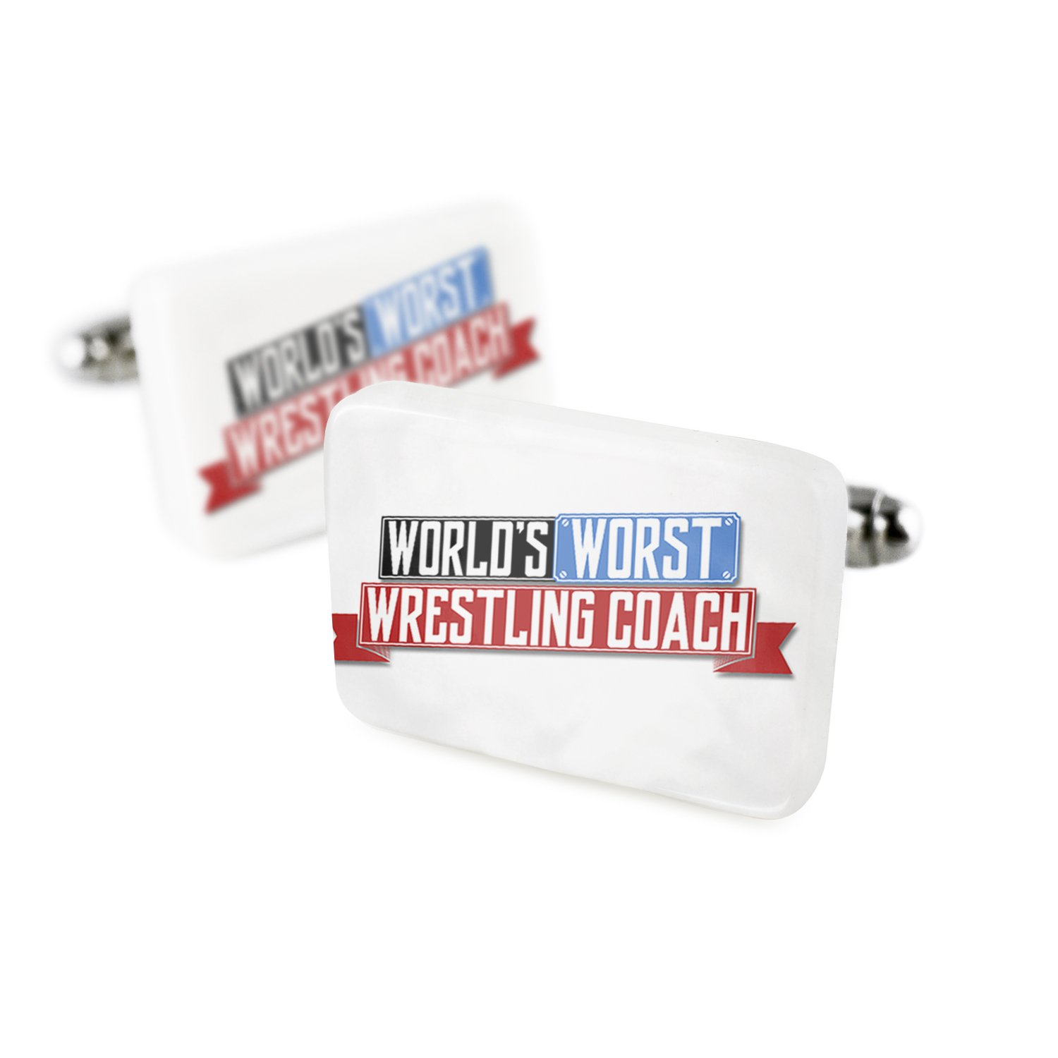 Cufflinks Funny Worlds worst Wrestling Coach Porcelain Ceramic NEONBLOND
