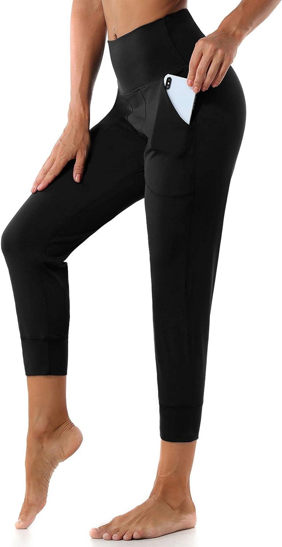 Ritiriko Women's Joggers with Pockets, High Waist Yoga Capri Pants for Running Workout Lounge