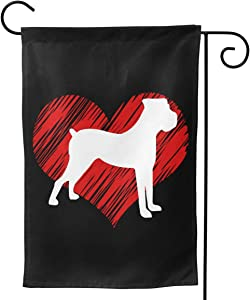 Love Boxer Dog Polyester Seasonal Garden Flag Welcome Banner For Patio Lawn Party Yard Home Outdoor Decor, Double Sided, 12.5