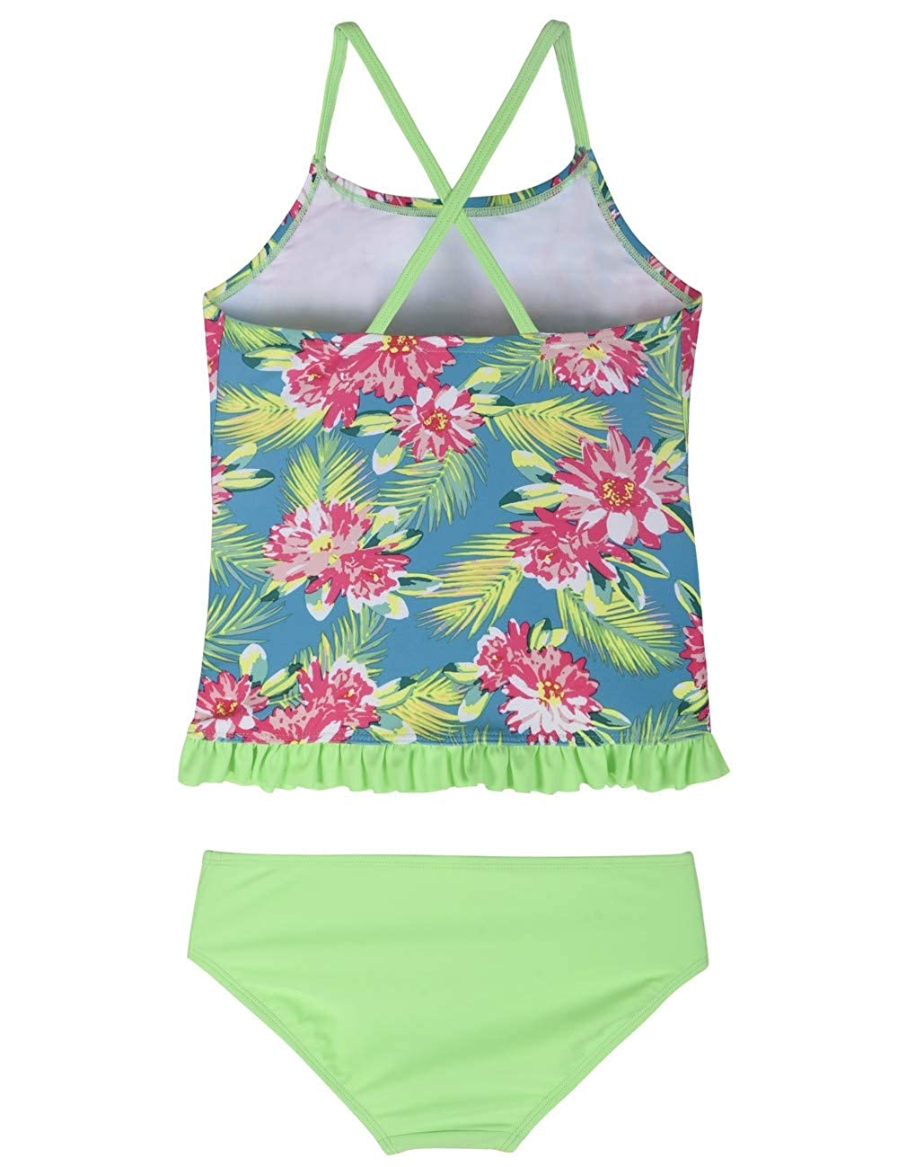 938cac7c0 Amazon.com: Firpearl Girls Two Piece Swimsuit Rainbow Unicorn Print Flounce  Tankini Kids Swimwear: Clothing