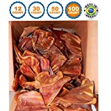 123 Treats - Large Pig Ears Dog Chews (100 Count) 100% Natural Pork Ears USDA & FDA Certified