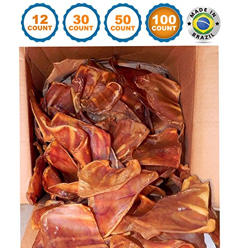 123 Treats - Pig Ears Dog Chews (100 Count) 100% Natural Pork Ears USDA & FDA Certified
