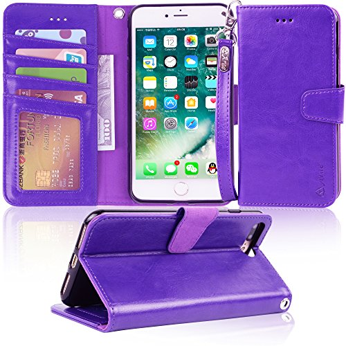 Arae iphone 7 plus case, iPhone 8 plus case, PU leather wallet Case with Kickstand and Flip Cover for iPhone 7 plus (2016)/iPhone 8 plus (2017) - (Purple Leather Cell Phone)