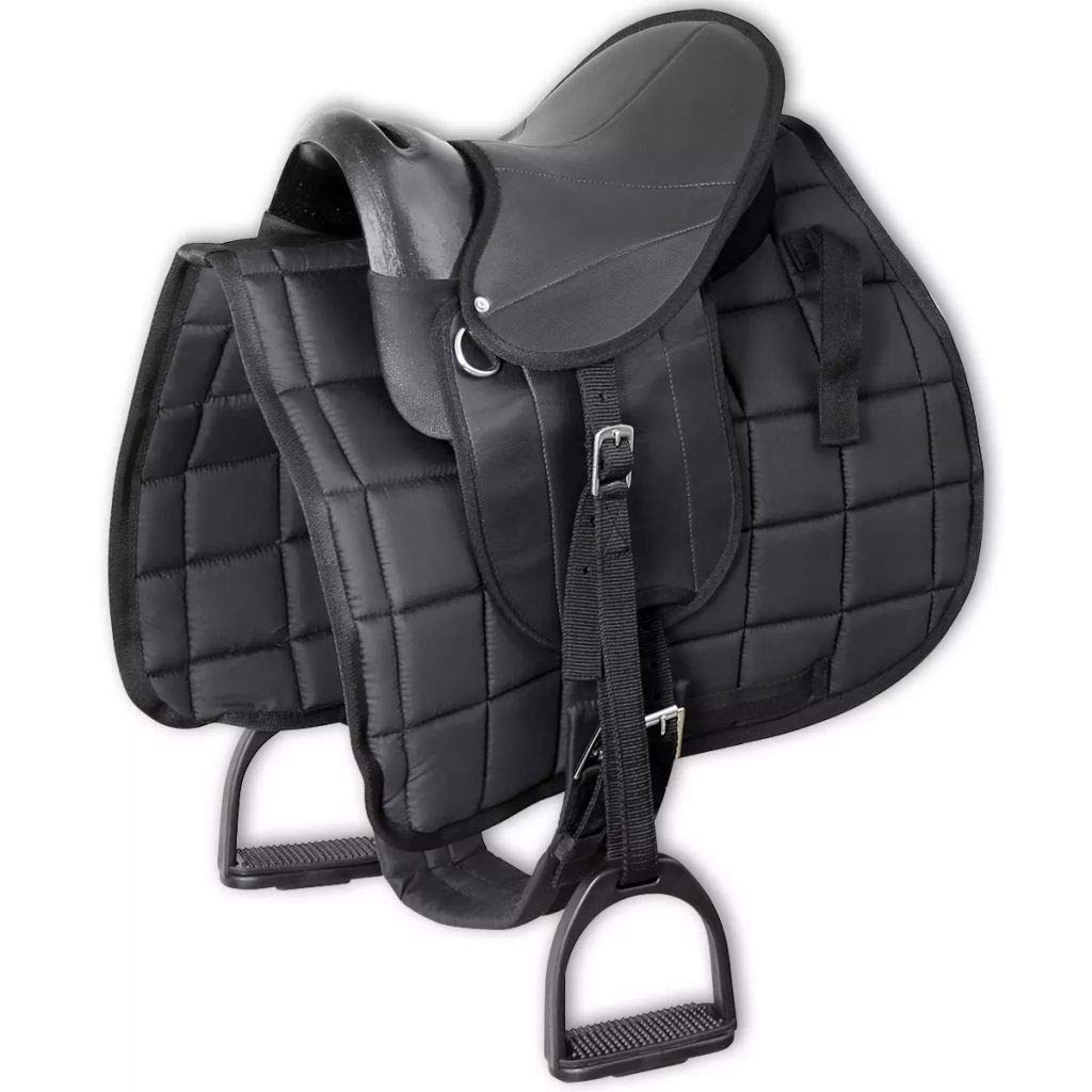 Festnight Pony Saddle Horse Pad Set - Black Polyester, 10'