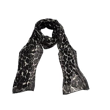 TOUTACOO, Foulard, Mousseline en Soie motifs Léopard - Fabriqué en France -  Couleur Noir b57ff3416e9
