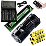Nitecore TM06S 4000 Lumen CREE LED Tiny Monster Flashlight/Searchlight, Nitecore D4 smart charger, 4 X Nitecore NL189 18650 3400mAh Li-ion with EdisonBright USB reading light bundle