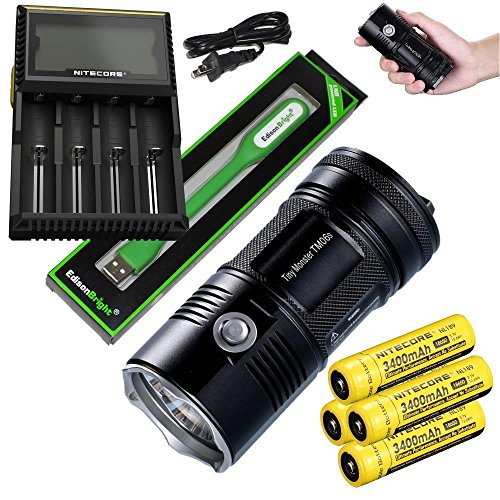 Nitecore TM06S 4000 Lumen CREE LED Tiny Monster Flashlight/Searchlight, Nitecore D4 smart charger, 4 X Nitecore NL189 18650 3400mAh Li-ion with EdisonBright USB reading light bundle (Nitecore Tm26 Tiny Monster 3500 Lumen Flashlight)