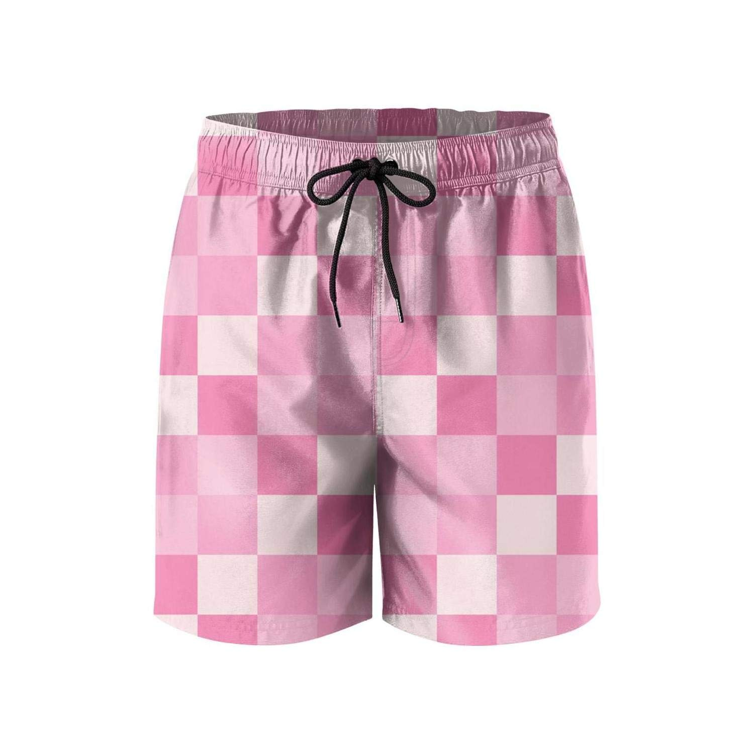 Camouflage Mens Swim Trunks Stretch Cool Simple-Geometric-Background-with-Triangles-Checkered