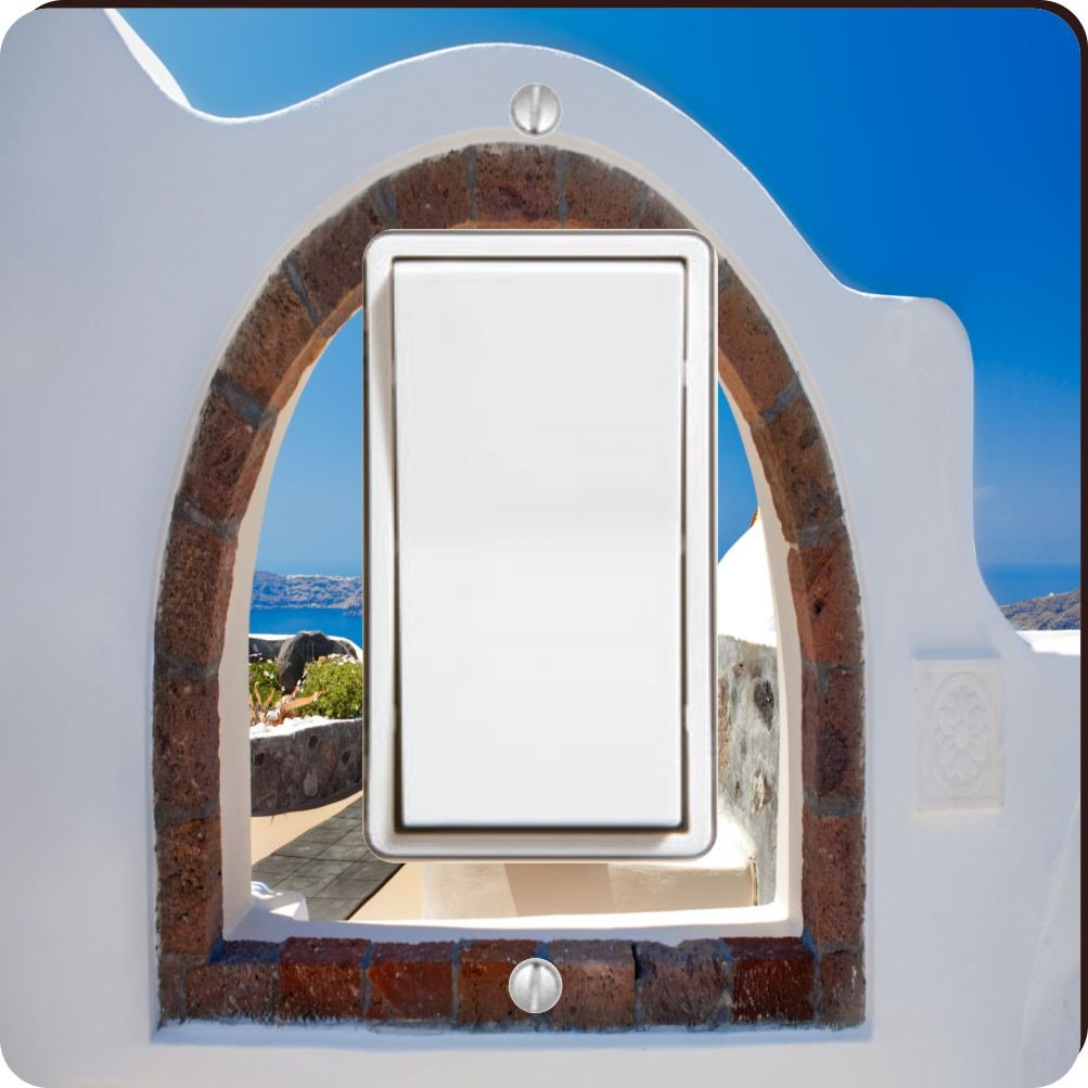 Rikki Knight 8976 Single Rocker Greek White Washed Window to Paradise Design Light Switch Plate