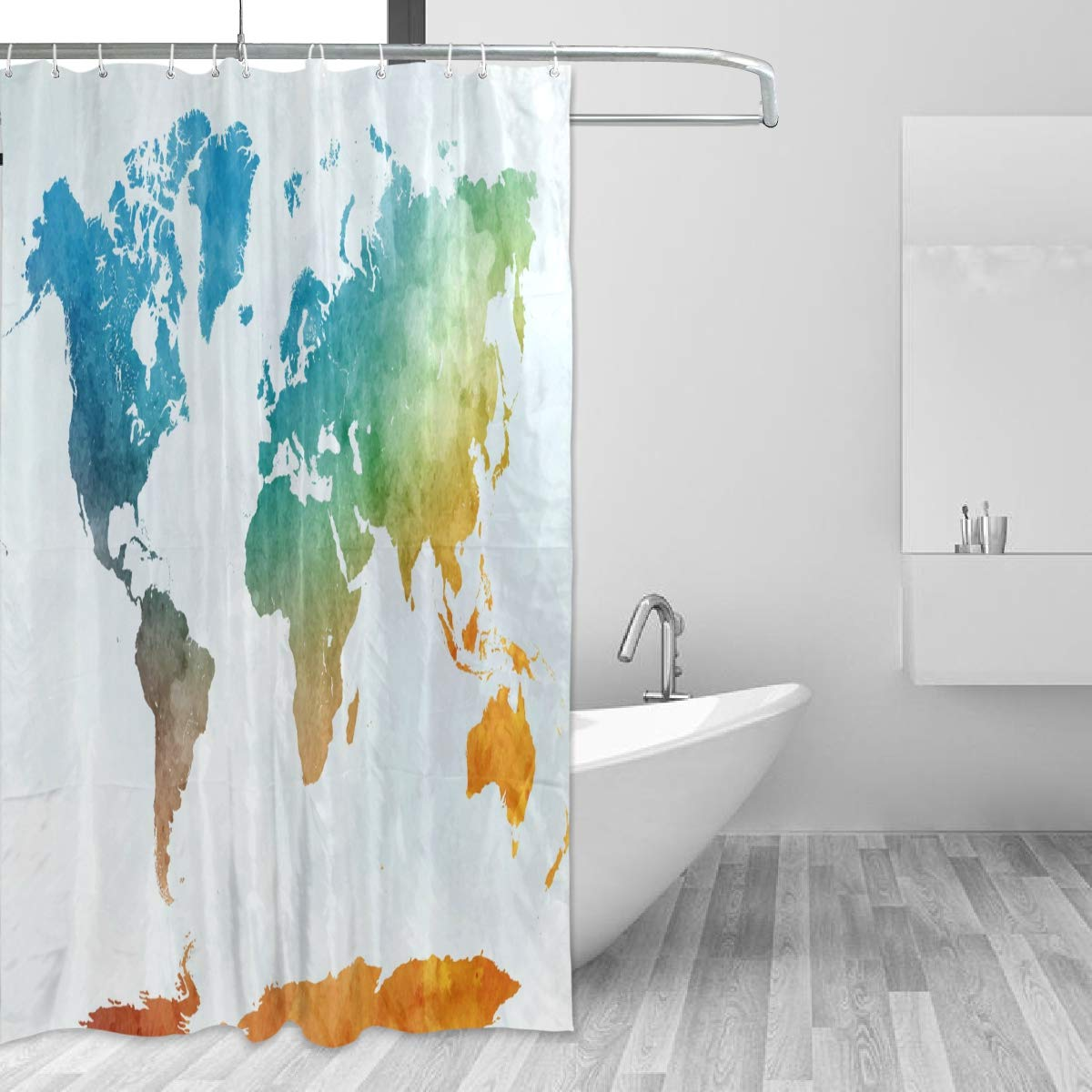 "60x72/"" Bath Shower Curtain w// 12 Hooks Set Waterproof Polyester Fabric World Map"