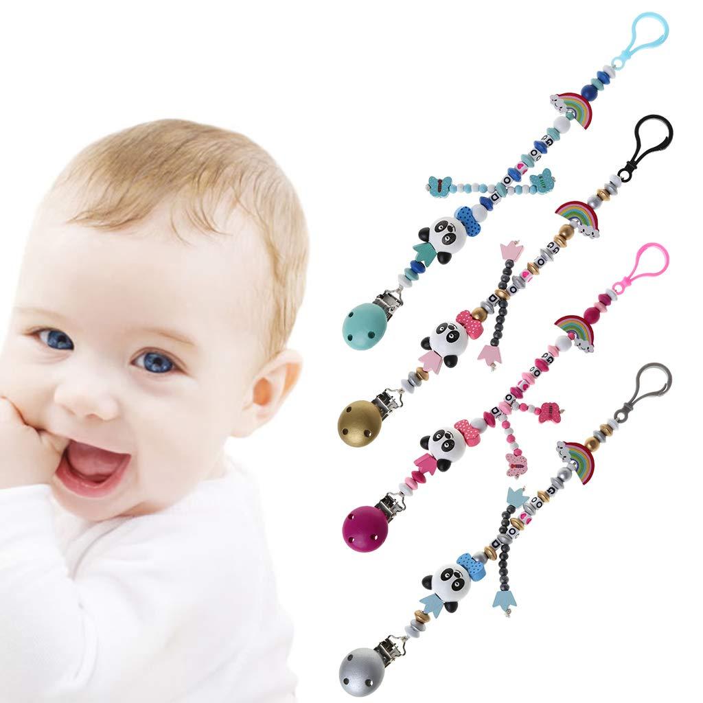 JOYKK Ni/ño Beb/é Cadena de Chupete Calmantes Ni/ños Ni/ñas Panda Rainbow Design Kids Toys Azul