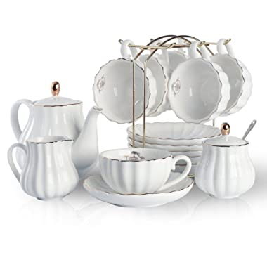 Porcelain Tea Sets British Royal Series, 8 OZ Cups& Saucer Service for 6, with Teapot Sugar Bowl Cream Pitcher Teaspoons and tea strainer for Tea/Coffee, Pukka Home (Pure White)