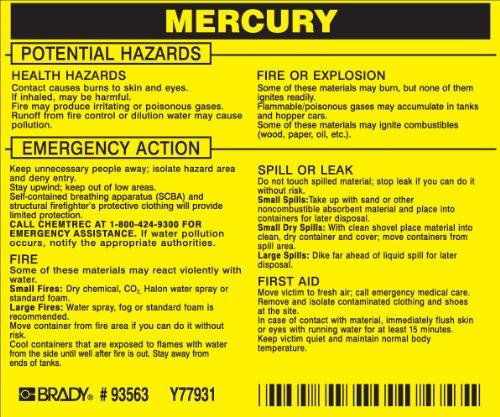 Brady 93563,  Hazardous Material Label:Dot 5800.4-1987, 3 3/4
