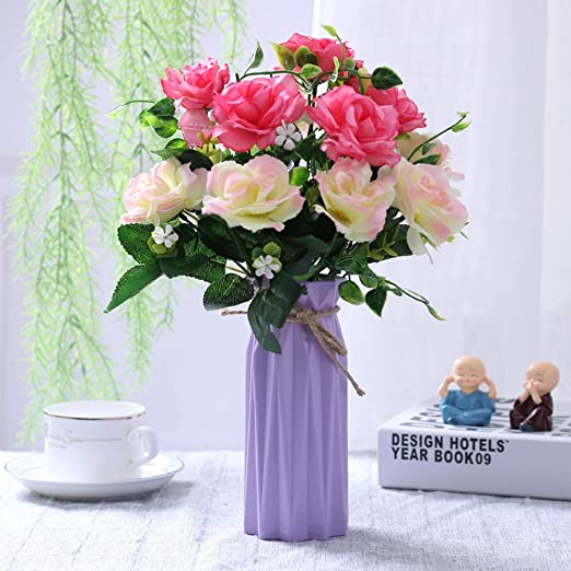 Amazon Com Nadalan Artificial Flower Arrangements Bulk With Vase Fake Yellow And Pink Rose Silk Plastic Flowers For Home Decor Desk Garden Party Wedding Decoration Rose 2 Home Kitchen