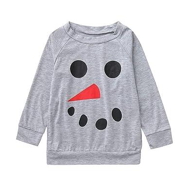 b2fec3515180 Jchen(TM) Kids Boys Girls Mom Dad Snowman Print Long Sleeve Tops Family  Pajamas