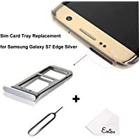 EMiEN SIM Card Tray Slot Holder Replacement for Samsung Galaxy S7 Edge G935 + SIM Card Tray Open Eject Pin Silver…