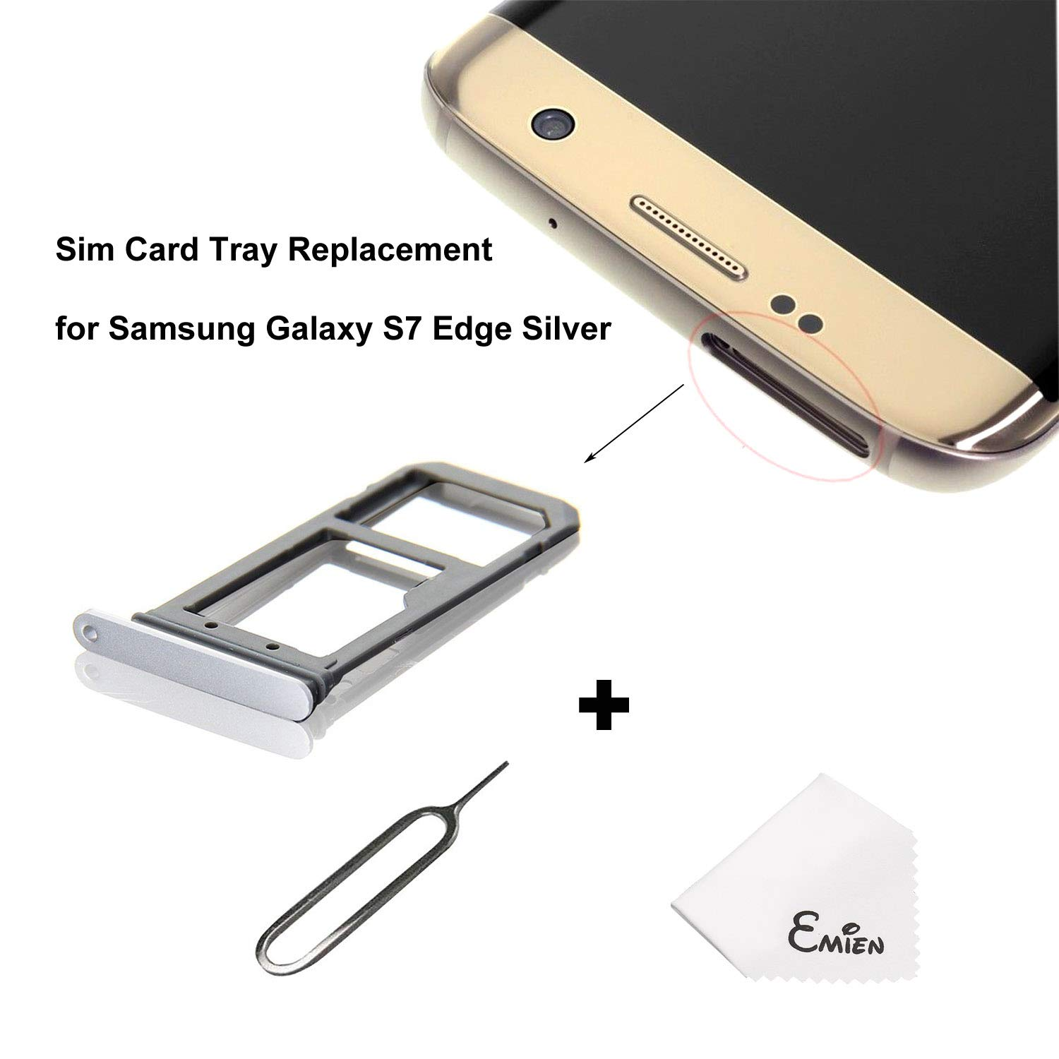 Gray EMiEN Single SIM Card Tray Slot Holder Replacement for Samsung Galaxy S7 Edge G935 SIM Card Tray Open Eject Pin