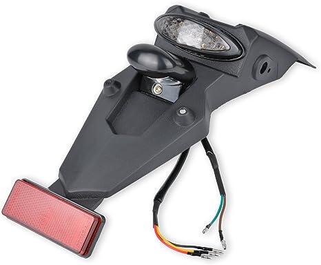 a 12/V stop a LED e catarifrangente con fanalino colore fum/è per moto da cross e pit bike Katur Kit luci per parafango posteriore da moto universale