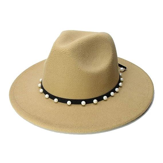 Amazon.com: YAO Wool Fedora Hat with Leather Rivet Gentleman Elegant Winter Autumn Wide Brim Jazz Church Panama Cap for Women (Color : Black, ...