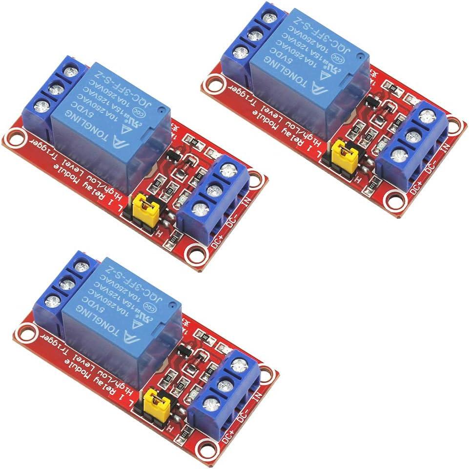 WayinTop 3 St/ücke 1 Kanal 5V Relais Modul Shield High//Low Level Trigger mit Optokoppler f/ür Arduino Raspberry Pi PIC AVR DSP ARM