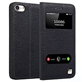 iPhone 7 Leather Case, Ultra Thin Flip Cover Case Dual Window View Stand Feature Genuine Leather Phone Case for Apple iphone 7 by Make mate (Black)